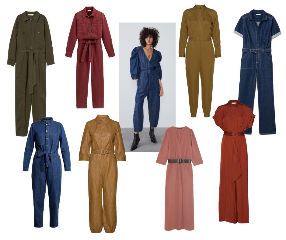 Udvalg af ensfarvede buksedragter